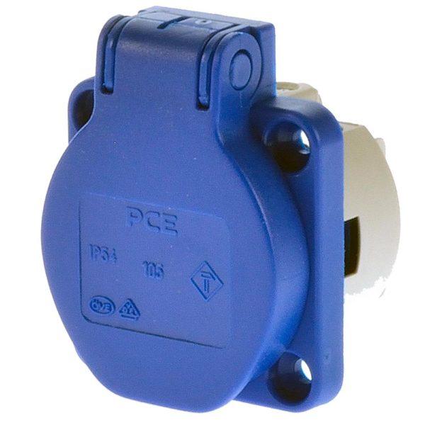 Розетка панельная Schuko PCE 50x50 Blue в компании EDS